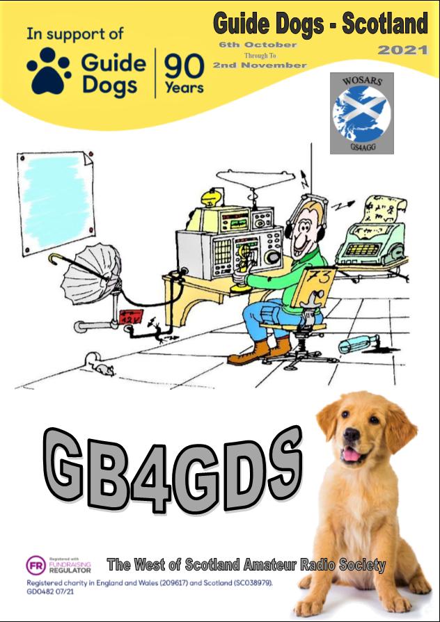 GB4GDS, shows dog and amateur radio station cartoon
